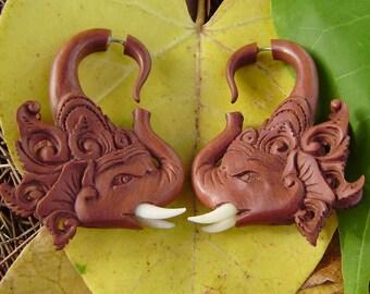 Fake Gauges Earrings,Geisha Elephant earrings, tribal style,hand carved,wood Earrings ,Tribal Expander Split,organic,elephants head