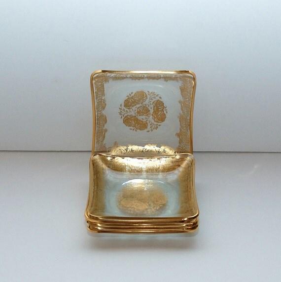 Vintage Glass Gold Decoration Cocktail Canapé  Plates , Set of 6