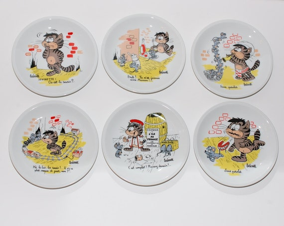 Like this item? & French Porcelain Cartoon Appetizer Cheese Plates Set of 6