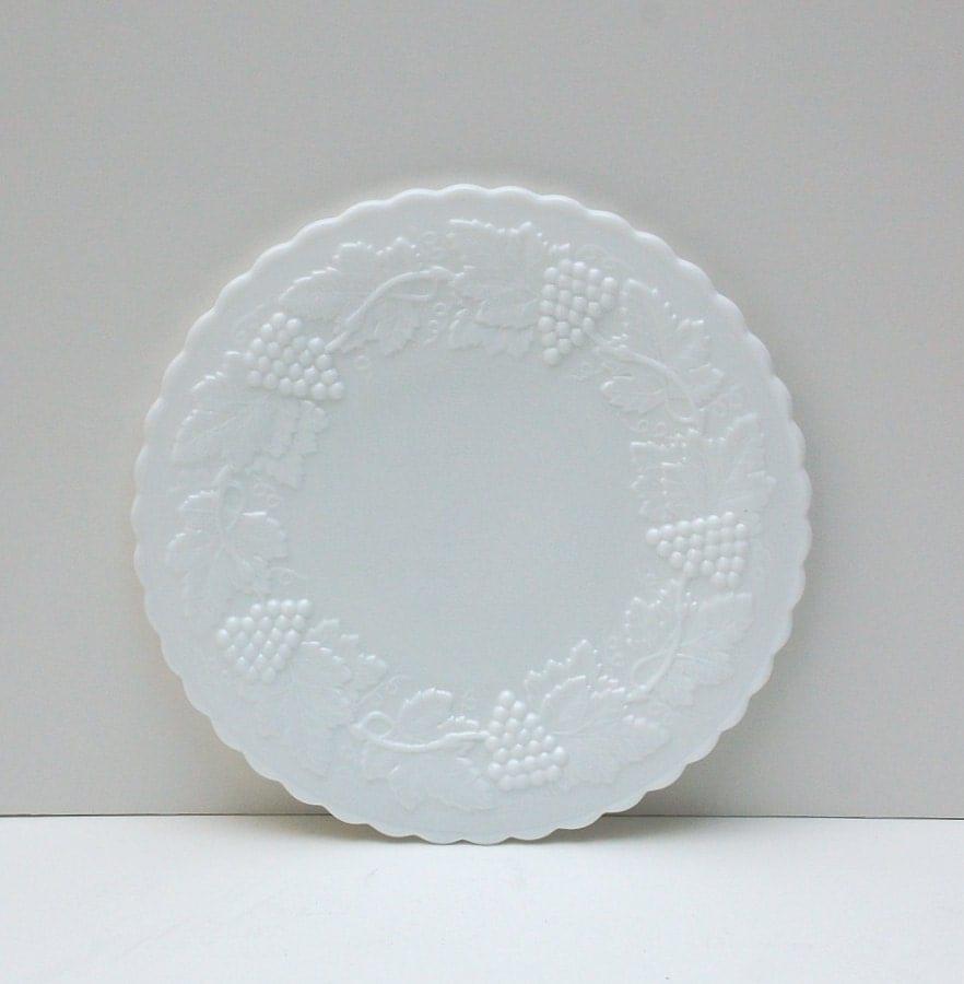 Vintage Imperial Milk Glass Salad Plates In Grape Pattern Set
