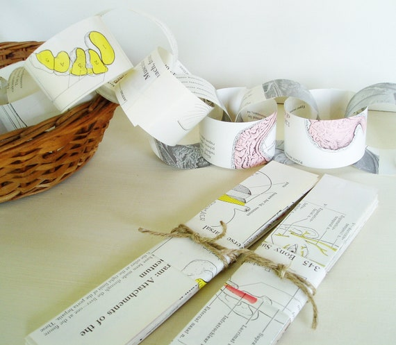 Paper Chain Kit Vintage Anatomy Book Pages Party DIY Garland Party Halloween Decoration