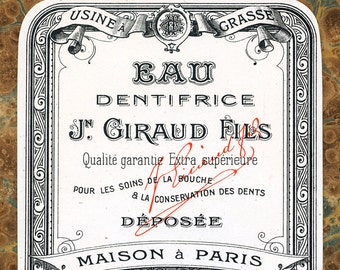 Antique Vintage French Apothecary Perfume Label 2