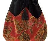 Red Velvet Paisley Pocket Bag  Boho Bag  Black Velvet Crossbody Purse