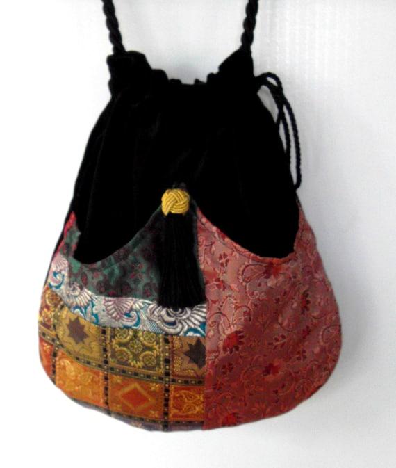 Elegant Patchwork Boho Bag  Drawstring Bag  Black Velvet Bag  Bohemian Bag  Crossbody Purse