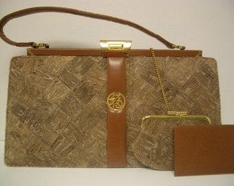 Vintage Designer Purse/Handbag by Lee Kee - Basket Weave Design,Rare