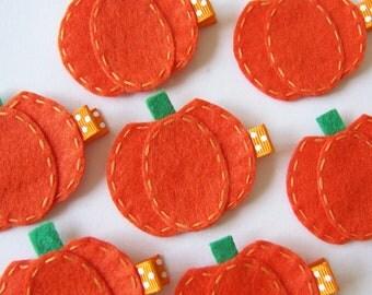 Orange Pumpkin Felt Hair Clip - Cute Fall and Halloween Clippies - seasonal felt hair bows