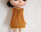 Brown smocked dress with flowers hand emrboidery for Blythe