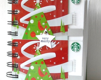 STARBUCKS Holiday Christmas Notebook - Large size with gift cards covers front and back