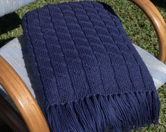 Knitted Afghan in Navy with Pralellograms and Spirals