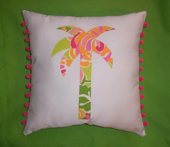 New custom Palm Tree pillow made with La Te Dah fabric