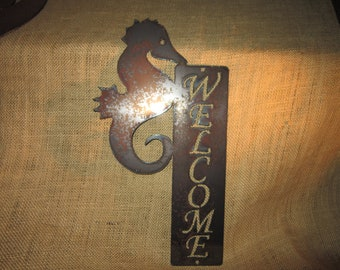 Seahorse Welcome Sign- Metal Art Sign-nautical-ocean-sea