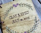Custom Woodburned Wedding Guest Book - Wreath - Vintage Wedding - Rustic Wedding