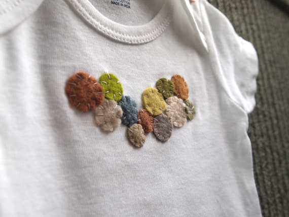 SALE: AS IS. river bed. baby onesie from the tiny circles collection by amberbrownmakesart