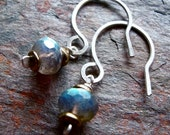 Labradorite Sterling Silver Brass Rondelle Earrings