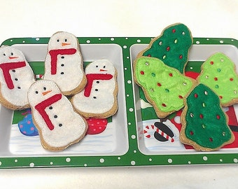 Christmas cookies Snowmen and Christmas trees Set Of 8 Great Christmas decorations add a loop to make ornaments #PF2559COMBO