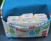 Waterproof Coupon or Purse Organizer Owls Fabric Blue Lining
