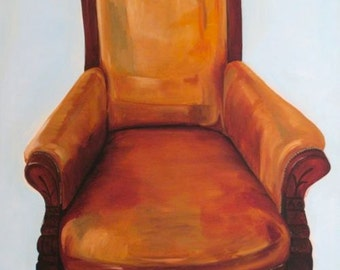 The Comfy Chair, original oil painting on canvas, 40% off with coupon code: GREENGOLD