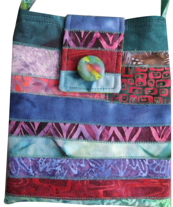 Hip Purse in Pink and Teal Batiks
