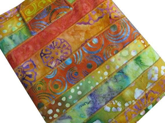 Tablet or I-Pad Sleeve in Tangerine and Green Batik