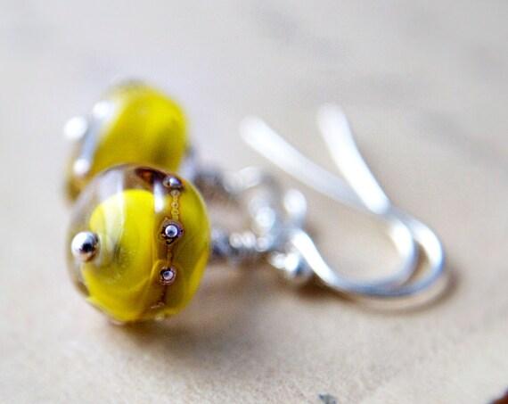 Earrings Jewelry  Lampwork Earrings Pea Green Silver Chartreuse Dangle
