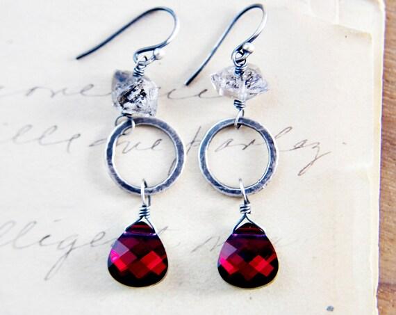Noir Red Garnet Crystal Earrings Herkimer Diamonds