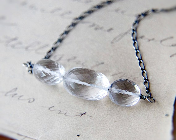 Crystal Necklace, Crystal Quartz, Quartz Necklace, Wire Wrapped, Sterling Silver, Crystal Quartz Necklace, PoleStar, Wire Wrapped