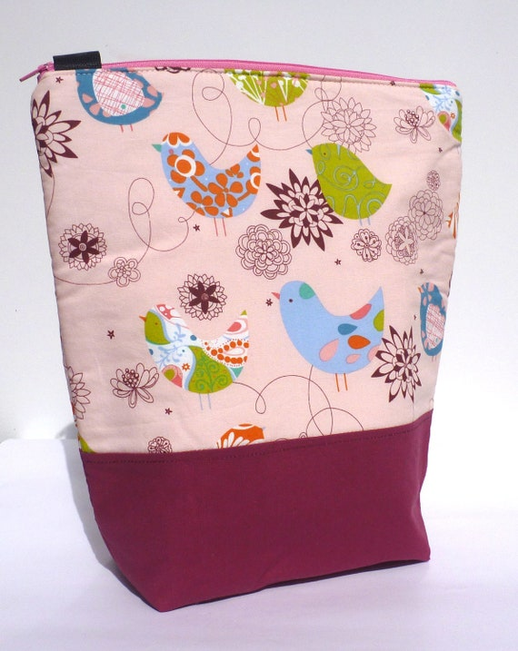 Insulated Lunch Bag Tote - Zip - Little Blue Bird by BonTonsGifts Australia