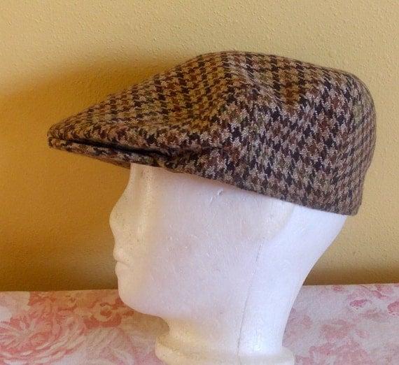 Vintage Ryder and Amies Cambridge England plaid cabbie newsboy hat cap 7 & 3/8