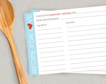 PRINTABLE Personalized Couples Recipe Cards