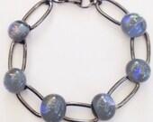 Dichroic Glass Bracelet  - charcoal grey link bracelet multicolor Dichro blue purple - dichro bracelet - fused glass bracelet - gunmetal