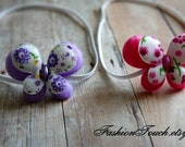 Butterfly Headbands, Set of 2, Baby Headband, Baby Photo Prop, Purple and Pink