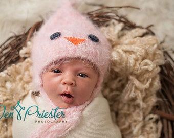 Baby Hat, Chick Hat, Newborn Baby Hat, Baby Photo Prop, Knit Newborn Hat, Pink Bird Baby Hat, Baby Photo Prop