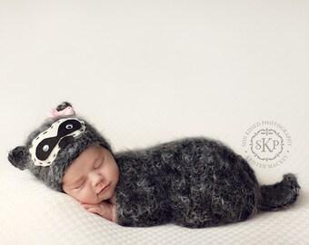 Baby Hat Set, Newborn Hat Set, Newborn Photo Prop, Baby Raccoon hat set, Knit Newborn Hat, Baby Hat, Animal Hat