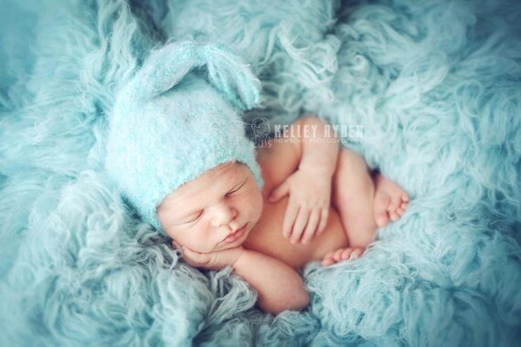 Baby Hat, Newborn Hat, Knit Newborn Hat, Newborn Photo prop, Knit Photo Prop, Blue Pixie Baby Hat, Baby Hat,Baby Photography Prop
