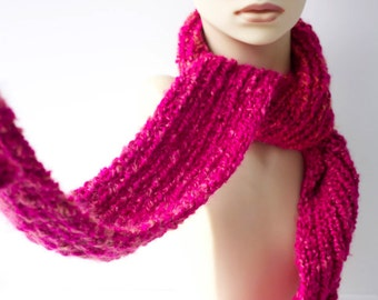 Raspberry Chunky Knitted  Scarf, Soft Warm Vegan Long Scarf , Ready to Ship