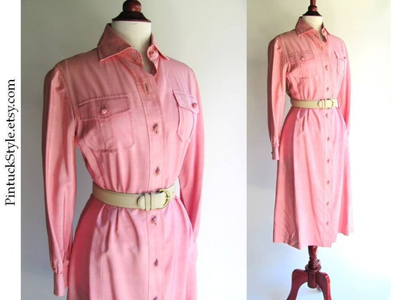 Silk Safari Shirt Dress, Shell Pink, Vintage 1970s YSL Style, fits up to 36 bust