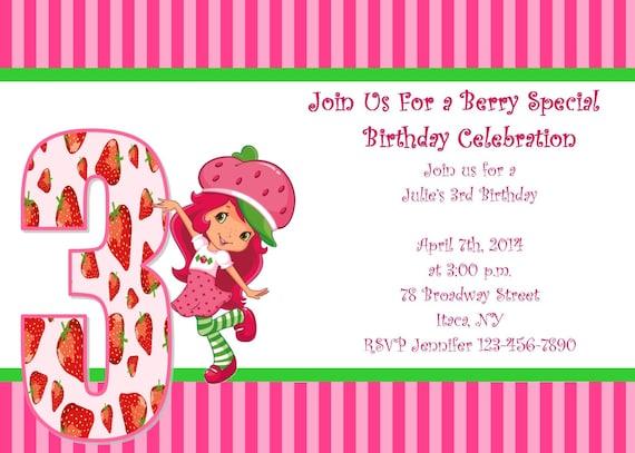 Girls Strawberry Shortcake Printable Birthday Party Invitation Digital Image