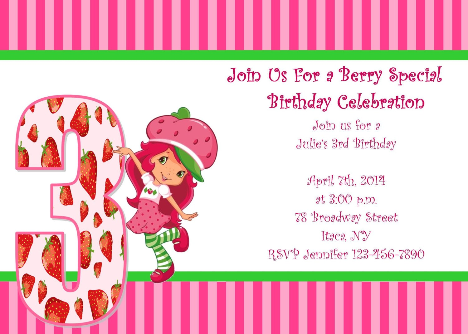 Strawberry Shortcake Invitation with awesome invitation example
