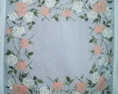 Vintage 1950s Apricot and White Roses Tablecloth