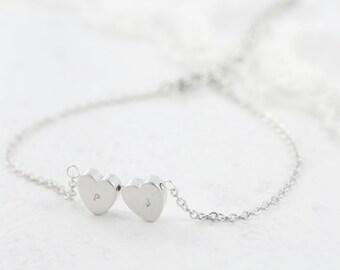 Custom Bracelet - Heart to Heart - Simple, Elegant, Everyday. A Perfect Gift. A minimalist and modern trinket. Custom Initials Name