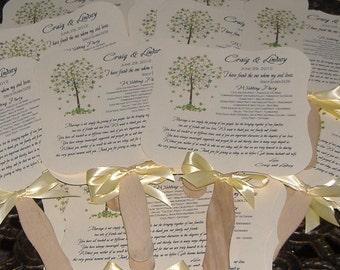 Wedding Fans, Wedding Fan Program, Tree of Life, Wedding Tree, Wedding Program Fan, Die Cut Fan - set of 50 Tree of Life