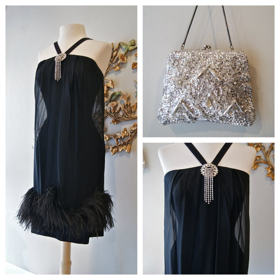 Reserved/Vintage Breakfast at Tiffany's Dress / Vintage 1960s Black Party Dress with Ostrich Feather Trim by House of NIne California Size S