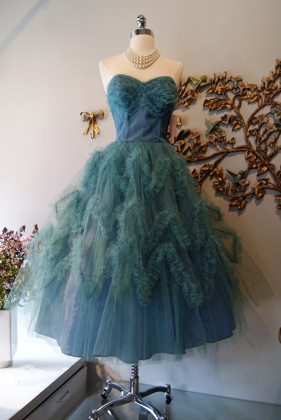 50s Dress // 50s Party Dress // 50s Prom Dress // Vintage 1950s Teal Tulle Ruffle Party Dress Size S