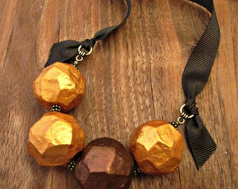 Paper Mache Necklace Chunky Beaded Gold and Copper Ribbon Tie Faceted Paper Mache Bead Recycled Jewelry: Roxy