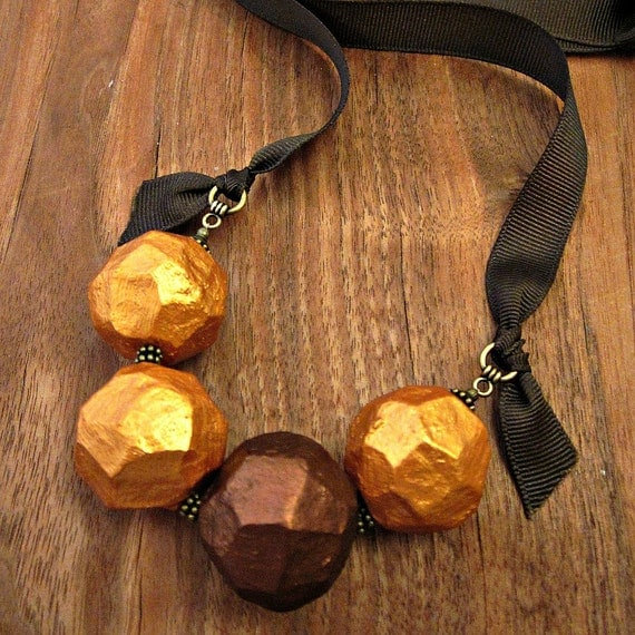 Paper mache necklace chunky beaded gold and copper ribbon tie for Ribbon tie necklace jewelry