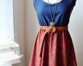Jennifer Lilly Handmade Beautiful Navy Blue and Burgandy Floral Cotton Dress // Boho Vintage Kitsch Whimsical Bohemian Dress (XS,S,M)