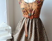 Floral Dress in Mustard and Brown Bohemian Romantic Fall Dress XS S