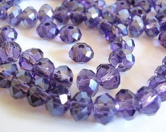 95 Glass Beads, jewelry Supply, Abacus, Indigo Faceted Rondelle, Pearlized
