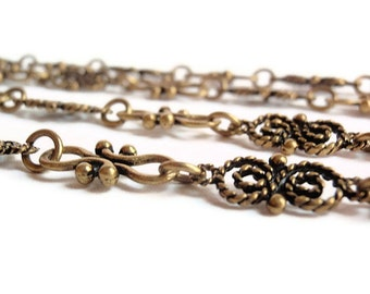 3 Ft. Handmade Antique Bronze butterfly & Cross Links, Jewelry Making Supply, Alloy Chain,