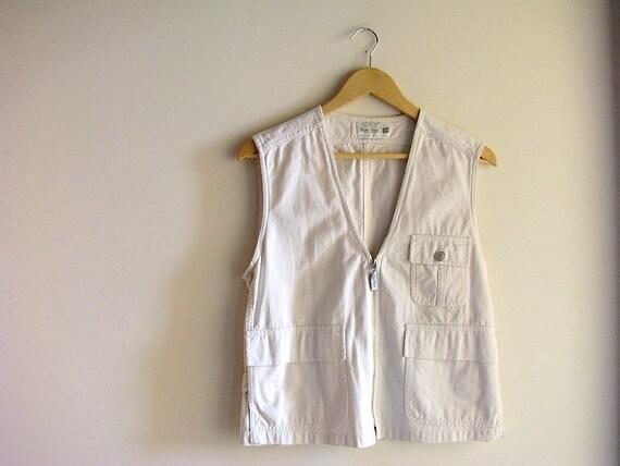 RESERVED for Stephane Bond - White Cotton Vest - Safari Explorer Cotton Vest - size m